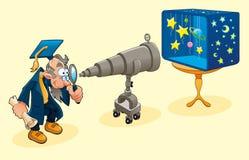 Scientifique avec le télescope. Photographie stock libre de droits