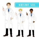 Scientifique beau réglé Man Pointing Up avec le visage sérieux Mâle de personnel médical Pleine illustration de vecteur de corps illustration de vecteur
