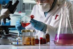 Scientifique cultivant le tissu dans le flacon de culture sur le laboratoire photo stock