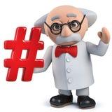 scientifique 3d fou tenant un symbole de hashtag d'étiquette de gâchis