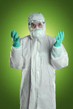 Scientifique dans le costume de Hazmat Images libres de droits