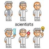 Scientifique Doctor, professeur d'art de pixel de vecteur illustration stock