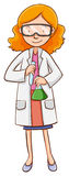 Scientifique féminin tenant des flacons illustration libre de droits