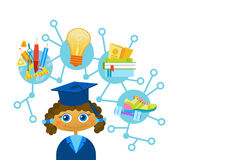 Scientifique heureux mignon d'enfant de bande dessinée de chapeau et de robe d'obtention du diplôme de Weating de fille de Liitle illustration de vecteur