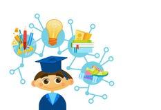Scientifique heureux mignon d'enfant de bande dessinée de chapeau et de robe d'obtention du diplôme de Weating de garçon de Liitl illustration de vecteur