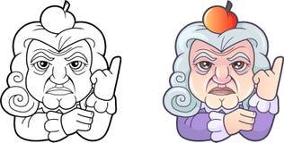 Scientifique Isaac Newton, illustration drôle de bande dessinée Images stock