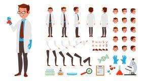 Scientifique Man Vector ensemble animé de création de caractère Intégral, avant, côté, vue arrière, accessoires, poses, visage illustration de vecteur