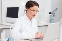 Scientifique travaillant attentivement avec l'ordinateur portable photos libres de droits