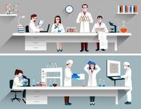 Scientifiques dans le concept de laboratoire illustration stock