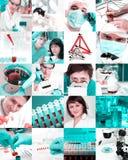 Scientifiques dans le laboratoire, collage image stock