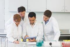 Scientifiques sérieux à l'aide de la tablette dans le laboratoire Photos stock