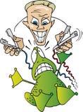 Scientinst loco y rana asustada Foto de archivo libre de regalías