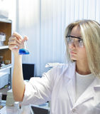 Scientist. Beauty scientist in chemical laboratory Stock Images
