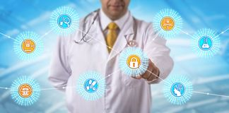 Scientist Accessing Secure Data Via Web And BYOD. Unrecognizable clinical trials research scientist accessing secure data via web, BYOD devices and cloud stock photos