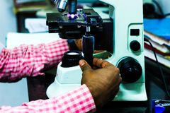Scientist adjusting knobs of a light microscope stock image