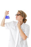 Scientist analysing a probe. Scientist making science experimant isolated over white background Royalty Free Stock Photography