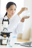 Scientist Analyzing Chemical Solution In Flask Stock Photos