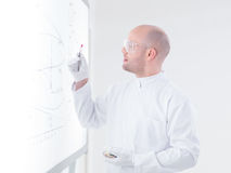 Scientist analyzing pink pill Royalty Free Stock Photos