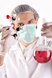 Scientist, Atoms and flask Stock Photography