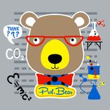 Scientist bear. Prof.bear is thinking for a research Stock Photography