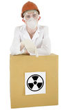 Scientist with box Stock Photography
