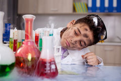 Scientist boy working in a laboratory Stock Image