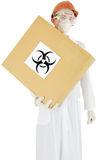 Scientist and carton box Royalty Free Stock Images