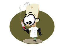 Scientist cartoon. Funny cartoon of a scientist holding a tube with some chemical substance royalty free illustration