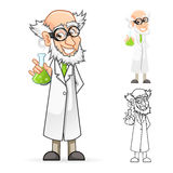 Scientist Cartoon Character Holding a Beaker Feeling Great Royalty Free Stock Photo