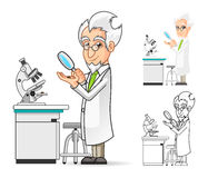 Scientist Cartoon Character Holding a Magnifying Glass with Microscope in The Background Stock Photo