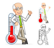 Scientist Cartoon Character Leaning Against a Temperature Royalty Free Stock Images