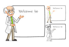 Scientist Cartoon Character with Welcoming Arms Royalty Free Stock Photos