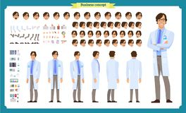 Scientist character creation set. Man working in science laboratory at experiments. Full length, different views, emotions stock illustration