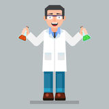 Scientist character wearing glasses and lab coat with chemicals Royalty Free Stock Photo
