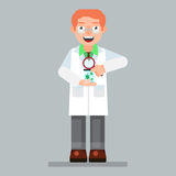 Scientist character wearing glasses and lab coat with microorganism, magnifier Stock Photo