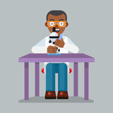 Scientist character wearing glasses and lab coat with microscope Stock Image