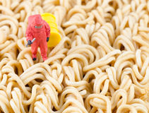 Scientist checking toxic on instant noodle Stock Photography