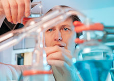 Scientist in chemical lab. Scientist works in a chemical laboratory Stock Images
