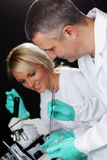 Scientist in chemical lab Stock Photo