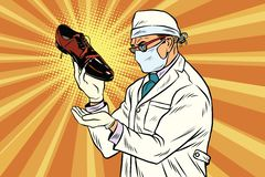 Scientist chemist explores shoes. Pop art retro comic book vector illustration stock illustration