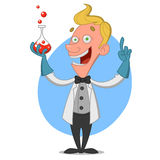 Scientist. Chemist with flask. Vector illustration Royalty Free Stock Image