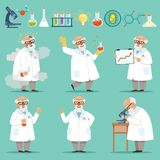 Scientist or chemist at his work. Different accessories in science laboratory Royalty Free Stock Photos