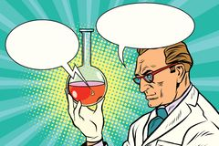 Scientist chemist talks about the analysis. Pop art retro comic book vector illustration vector illustration