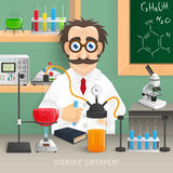 Scientist In Chemistry Lab. With realistic scientific experiment equipment vector illustration Stock Photo
