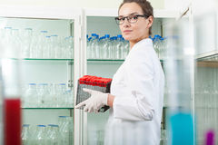 Scientist cleaning the laboratory Stock Photo