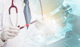 Scientist in clinical laboratory. Close up of scientist holding test tube with blood sample making research in clinical laboratory Royalty Free Stock Image