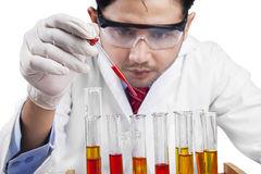 Scientist combine chemistry fluid. Male scientist using chemistry fluid for research in laboratory Royalty Free Stock Photography