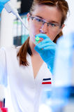 Scientist concentrates on her experiment Royalty Free Stock Images