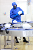 Scientist at conveyor belt in gmo factory. Fully protected in blue uniform scientist  at conveyor belt in gmo factory - testing products Royalty Free Stock Photos
