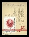 Mendeleev Dmitri (1834-1907), russian scientist, with author Formula corrections, USSR, circa 1969,. USSR - CIRCA 1969: canceled stamp printed in USSR Stock Photo